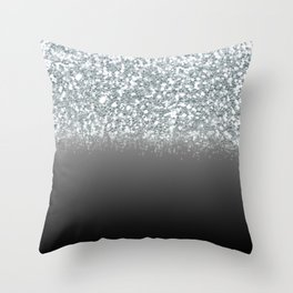 Black Gray & Silver Glitter Ombre Throw Pillow