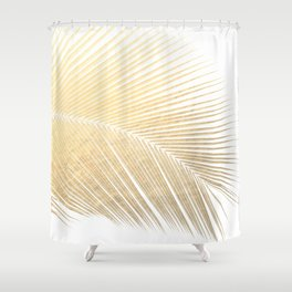 Palm leaf - gold Shower Curtain
