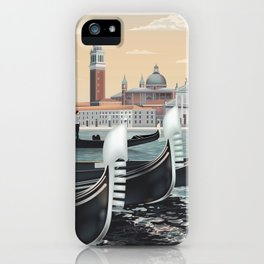 Venice Gondolas Vintage Travel Poster Commercial Air Travel Poster iPhone Case