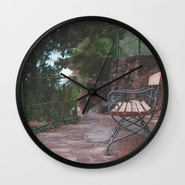 Bench in the trees Wall Clock