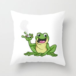 Frog as smoker with cigarette Throw Pillow