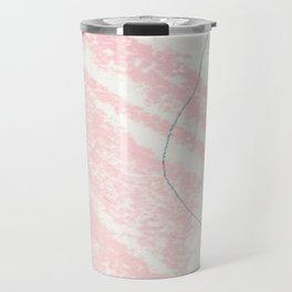Blush pink white blue watercolor crayon strokes pattern Travel Mug