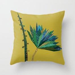 Green flower (mustard) Throw Pillow
