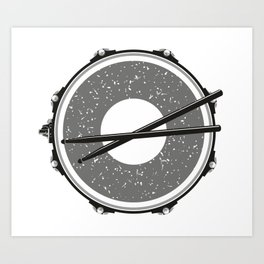 Drum with drumsticks Art Print