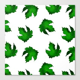 Eco green leaves pattern on white background Canvas Print