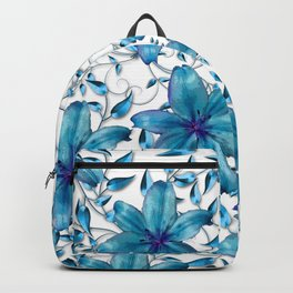 LILY AND VINES BLUE AND WHITE PATTERN Backpack