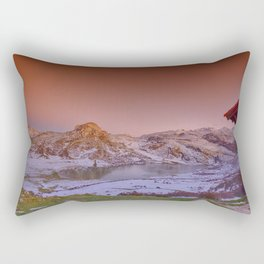Panoramic view of Lake Ercina with snow in Asturias, Spain. Rectangular Pillow