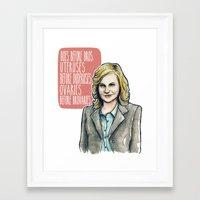 leslie knope Framed Art Prints featuring Leslie Knope by Tiffany Willis