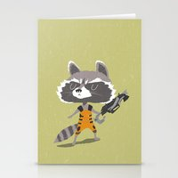 rocket raccoon Stationery Cards featuring Rocket Raccoon by Rod Perich