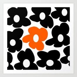 Large Orange and Black Retro Flowers White Background #decor #society6 #buyart Art Print