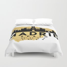 MADRID SPAIN SILHOUETTE SKYLINE MAP ART Duvet Cover