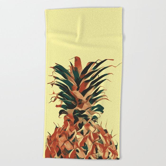 Retro pineapple Beach Towel