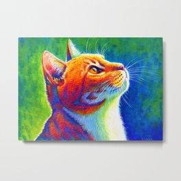 Anticipation - Rainbow Tabby Cat Metal Print