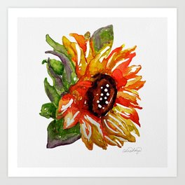 Sunflower Watercolor - Yellow Floral Art Print