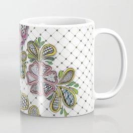 Patterned Flowers on a Grid Coffee Mug