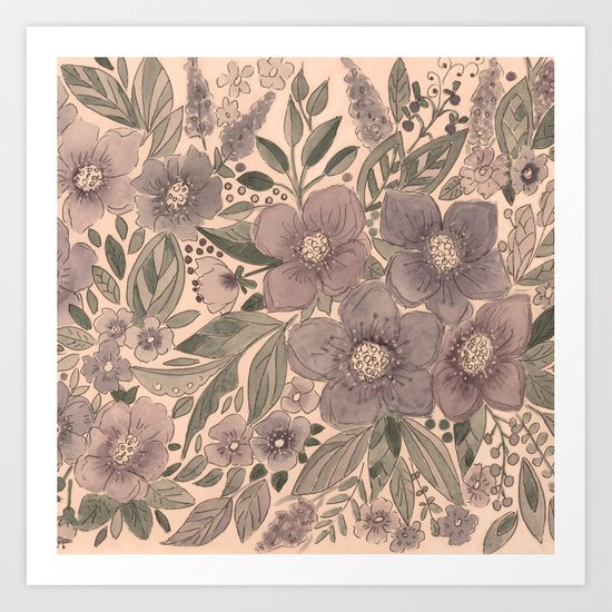 Watercolor . Flowers retro . Art Print