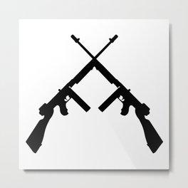 Crossed thompson submachine gun silhouette on transparent background Metal Print