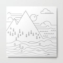 Line work landscape Metal Print