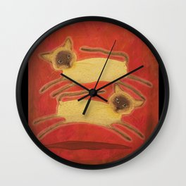 Siamese Twin Cats! Cat Kittens Two Pets for you. Wall Clock