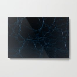 Dark blue leather texture abstract Metal Print