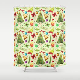 Vintage green red colorful festive Merry Christmas floral Shower Curtain
