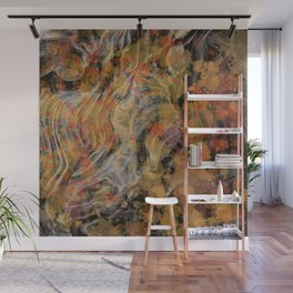Abstract painting with vintage finery patterns and colors Wall Mural