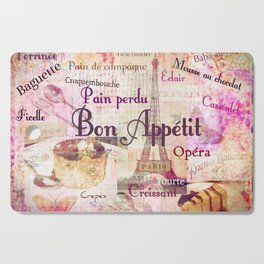 Bon Appetit French food words Cutting Board