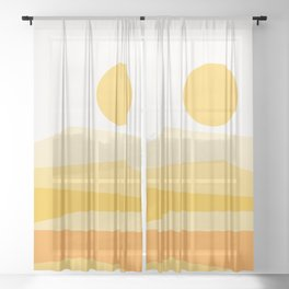 Abstract Landscape 09 Yellow Sheer Curtain