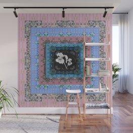 Flirty Boho Floral Iris Peace Quilt Wall Mural