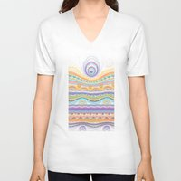stripe V-neck T-shirts featuring stripe by Antracit