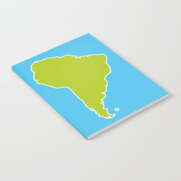 South America map blue ocean and green continent. Vector illustration Notebook