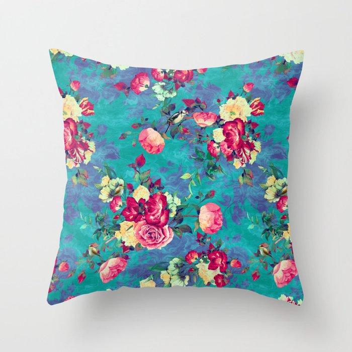 Flowers & Birds II Throw Pillow
