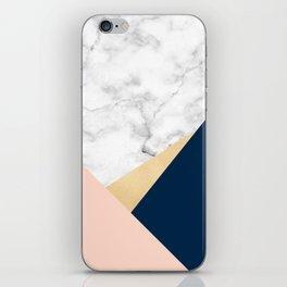Geometric marble, gold, blush pink & navy blue iPhone Skin