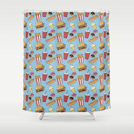 Fast-food (blue) Shower Curtain