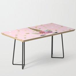 Floral Trendy Modern Unicorn Horn Gold Confetti Coffee Table