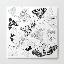 Moth Pattern Black and White Metal Print