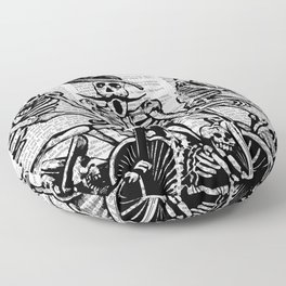 Calavera Cyclists | Skeletons on Bikes | Day of the Dead | Dia de los Muertos | Black and White | Floor Pillow