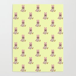 Pug dog in a rabbit costume pattern Poster