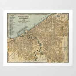 Vintage Map of Cleveland OH (1894) Art Print