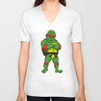ninja turtle V-neck T-shirts featuring Teenage Putin Ninja Turtle by Chris Piascik