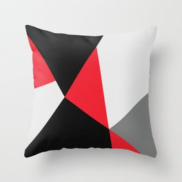 Broken Glass, red, abstract graphic Throw Pillow