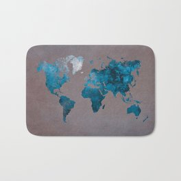 world map 104 blue #worldmap #map Bath Mat