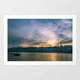 Sunset over the Danube Art Print