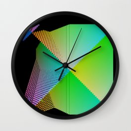 RGB (red gren blue) pixel grid planes crossing at right angles Wall Clock