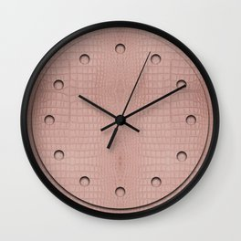 Pink Alligator Print Wall Clock