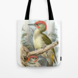 Vintage print,colorful poster of Green Woodpeckers Tote Bag