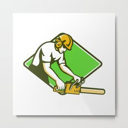 tree surgeon arborist lumberjack chainsaw Metal Print