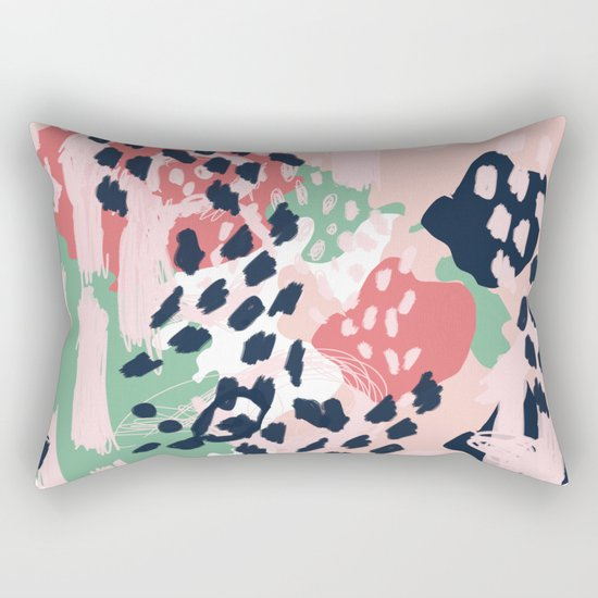 Brooklin - abstract minimal pink coral navy painting home decor abstract charlotte winter art Rectangular Pillow