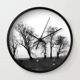 Road winter trees Wall Clock