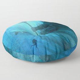 Scuba Diver meets Poseidon  Floor Pillow